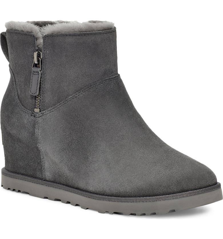 UGG<SUP>®</SUP> Classic Femme Mini Wedge Bootie, Main, color, GREY SUEDE