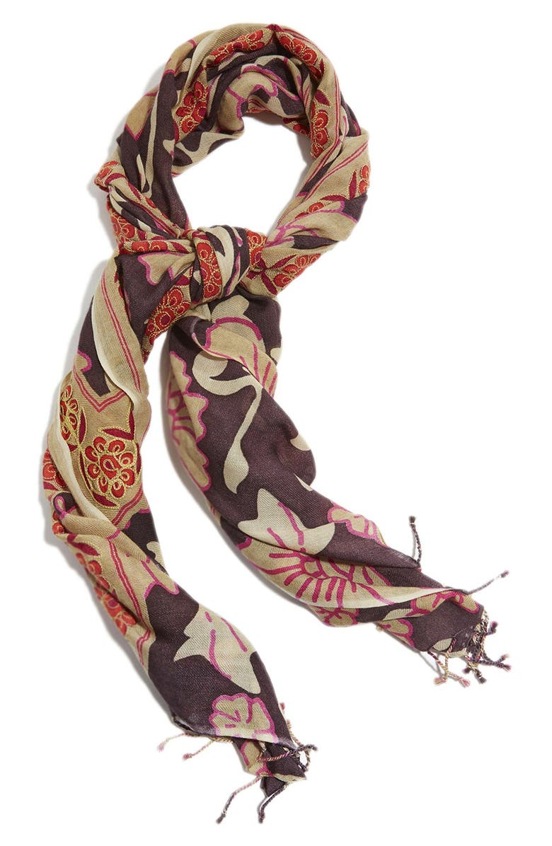 LUCKY BRAND 'Kareena' Embroidered Wool Scarf, Main, color, MULTI
