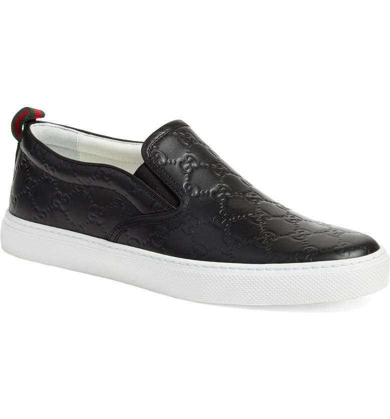 GUCCI Slip-On Sneaker, Main, color, NERO EMBOSSED LEATHER
