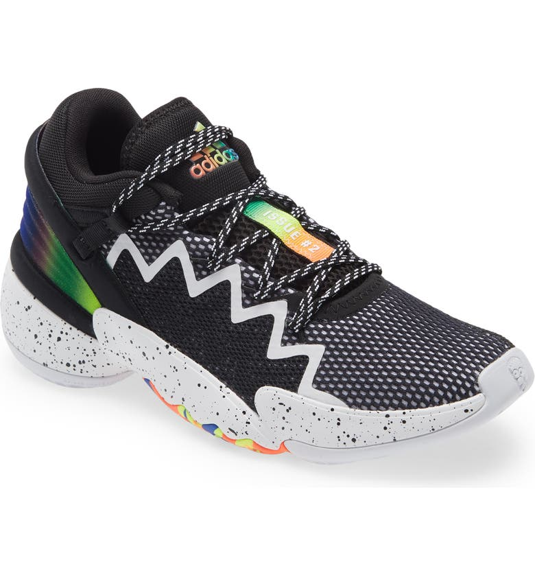 ADIDAS Kids' D.O.N. Issue #2 Basketball Shoe, Main, color, CORE BLACK/ WHITE/ SOLAR RED