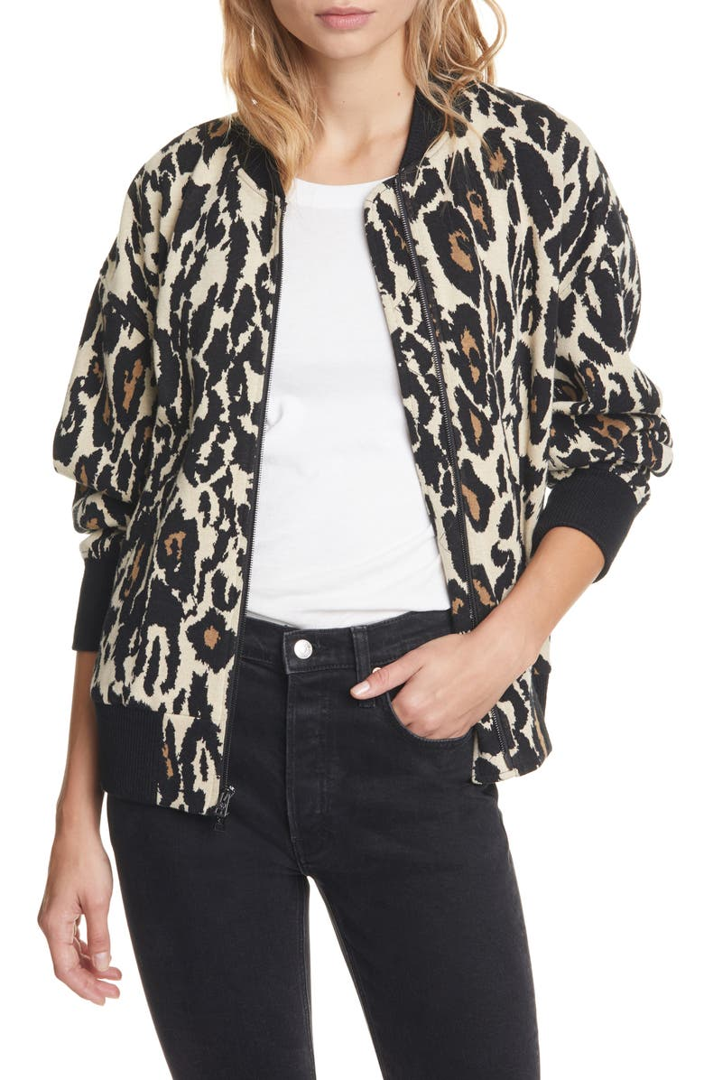 DVF Leopard Print Cotton Bomber Jacket, Main, color, 001