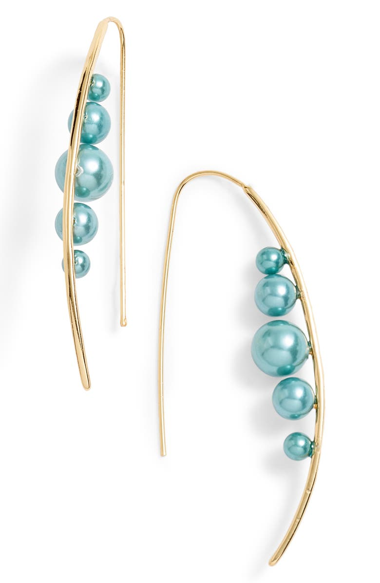 STERLING FOREVER Imitation Pearl Threader Earrings, Main, color, TEAL