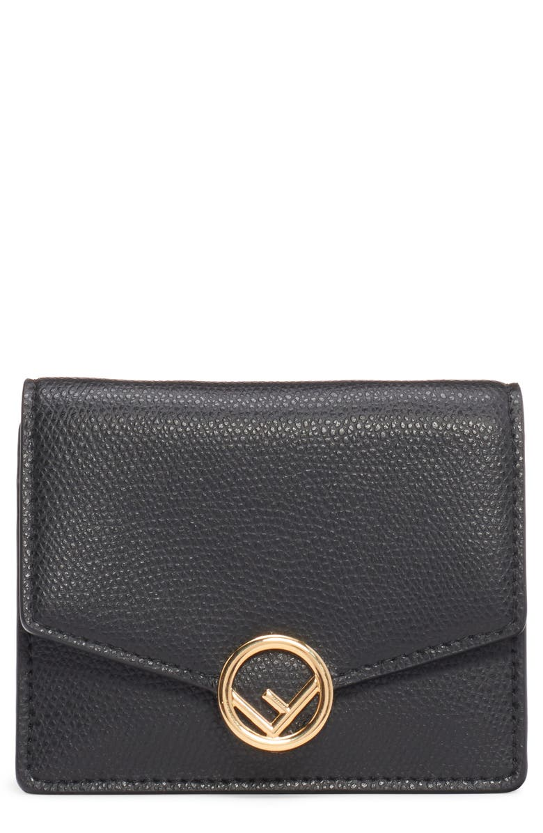 FENDI Leather Wallet on a Chain, Main, color, 006