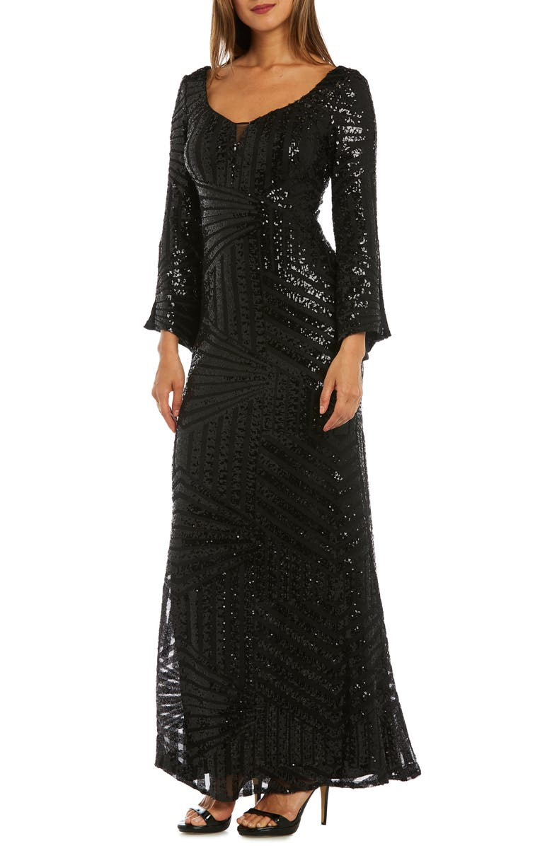 MORGAN & CO. Sequin Bell Sleeve Gown, Main, color, 001