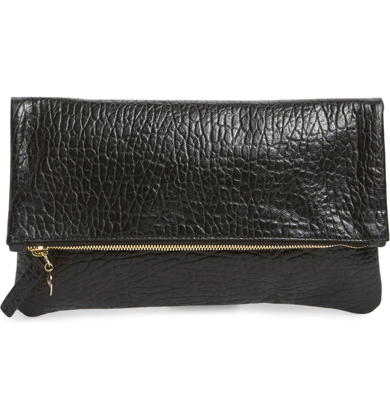 CLARE V. Leather Foldover Clutch, Main, color, 001