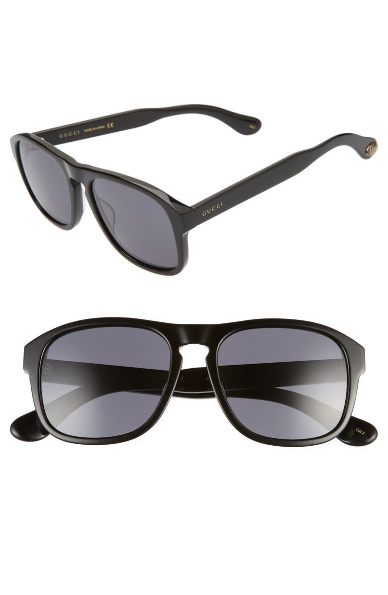 GUCCI 55mm Navigator Sunglasses, Main, color, 001