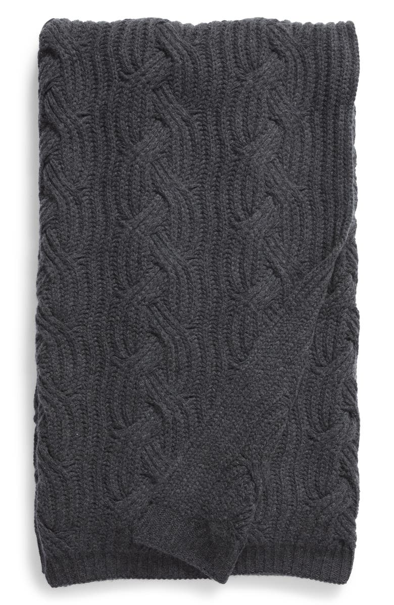 NORDSTROM SIGNATURE Cable Knit Cashmere Throw, Main, color, 021