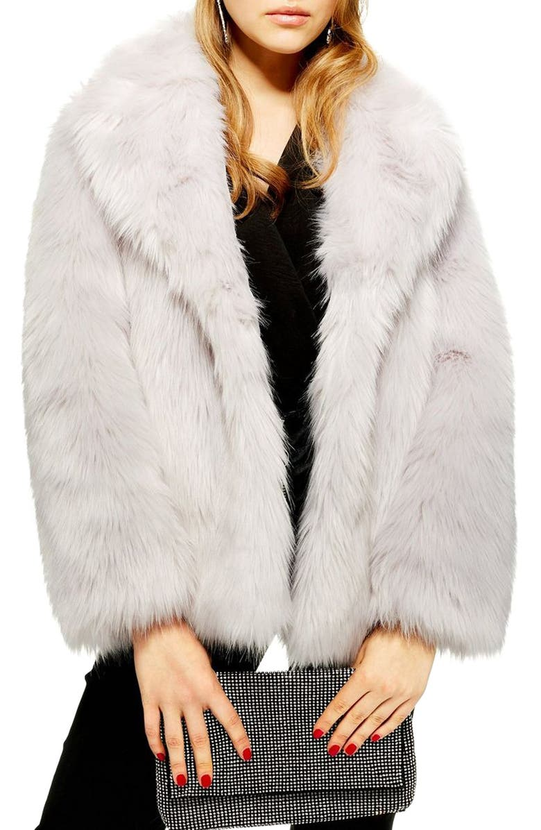 TOPSHOP Camille Faux Fur Coat, Main, color, 050