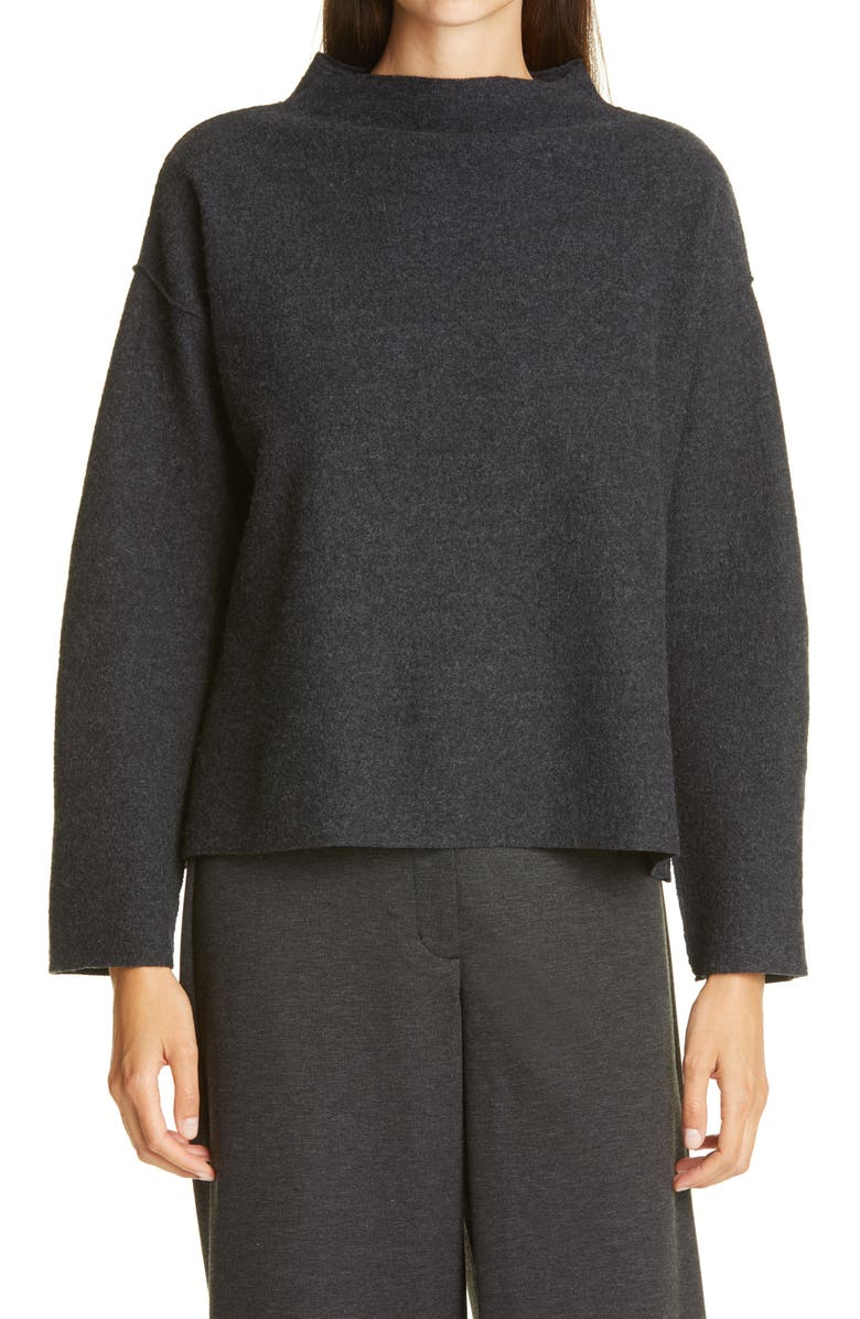 EILEEN FISHER Boiled Wool Box Top, Main, color, 021