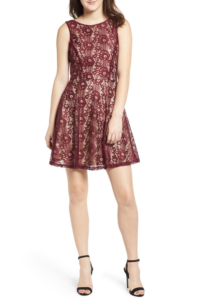 SPEECHLESS Lace Skater Dress, Main, color, WINE/ NUDE