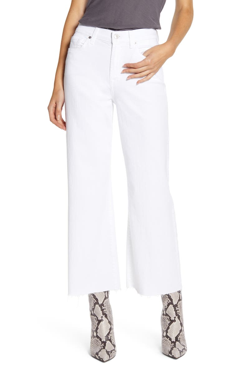 7 FOR ALL MANKIND<SUP>®</SUP> Alexa High Waist Raw Hem Crop Wide Leg Jeans, Main, color, 101