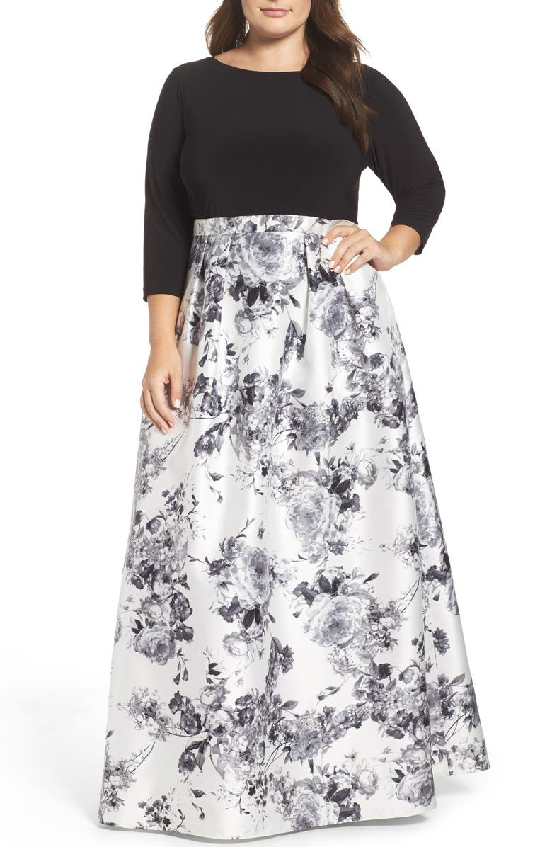 ADRIANNA PAPELL Jersey & Mikado Ballgown, Main, color, 170