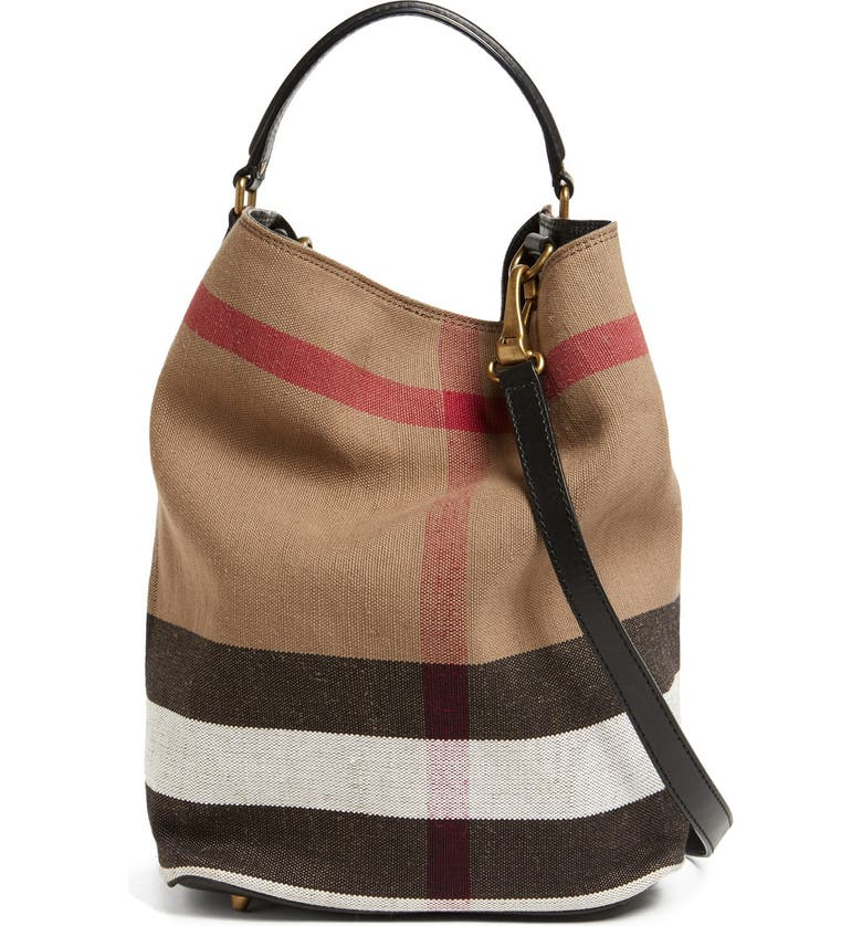 BURBERRY BRIT 'Susanna - Medium' Bucket Bag, Main, color, 001