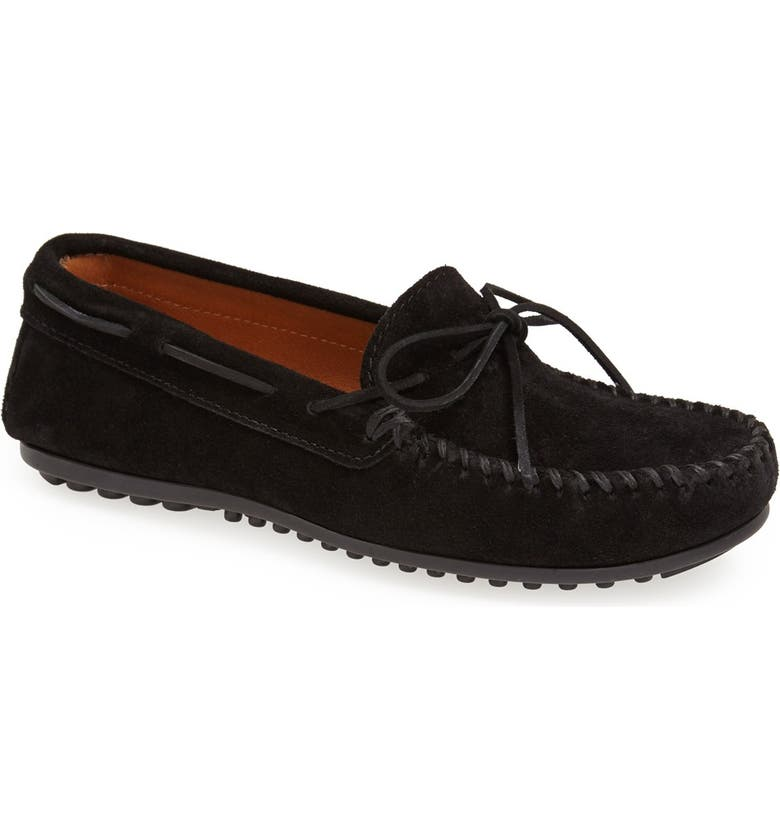 MINNETONKA Suede Moccasin, Main, color, Black