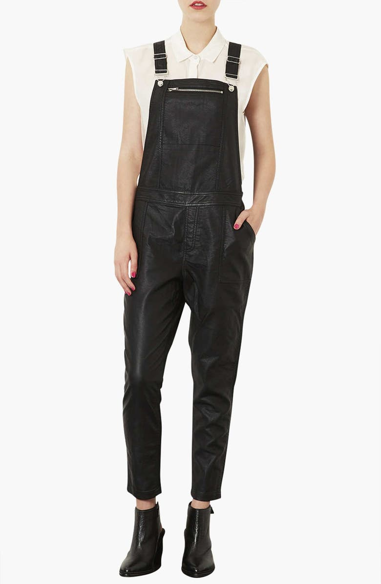 TOPSHOP Faux Leather Overalls, Main, color, 001
