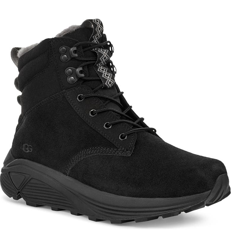 UGG<SUP>®</SUP> Miwo Utility Waterproof Boot, Main, color, BLACK SUEDE