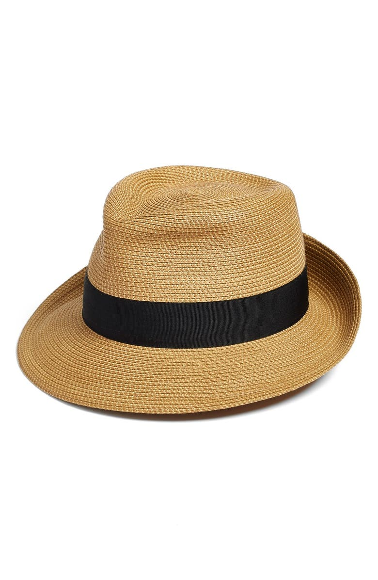 ERIC JAVITS 'Classic' Squishee<sup>®</sup> Packable Fedora Sun Hat, Main, color, NATURAL/ BLACK