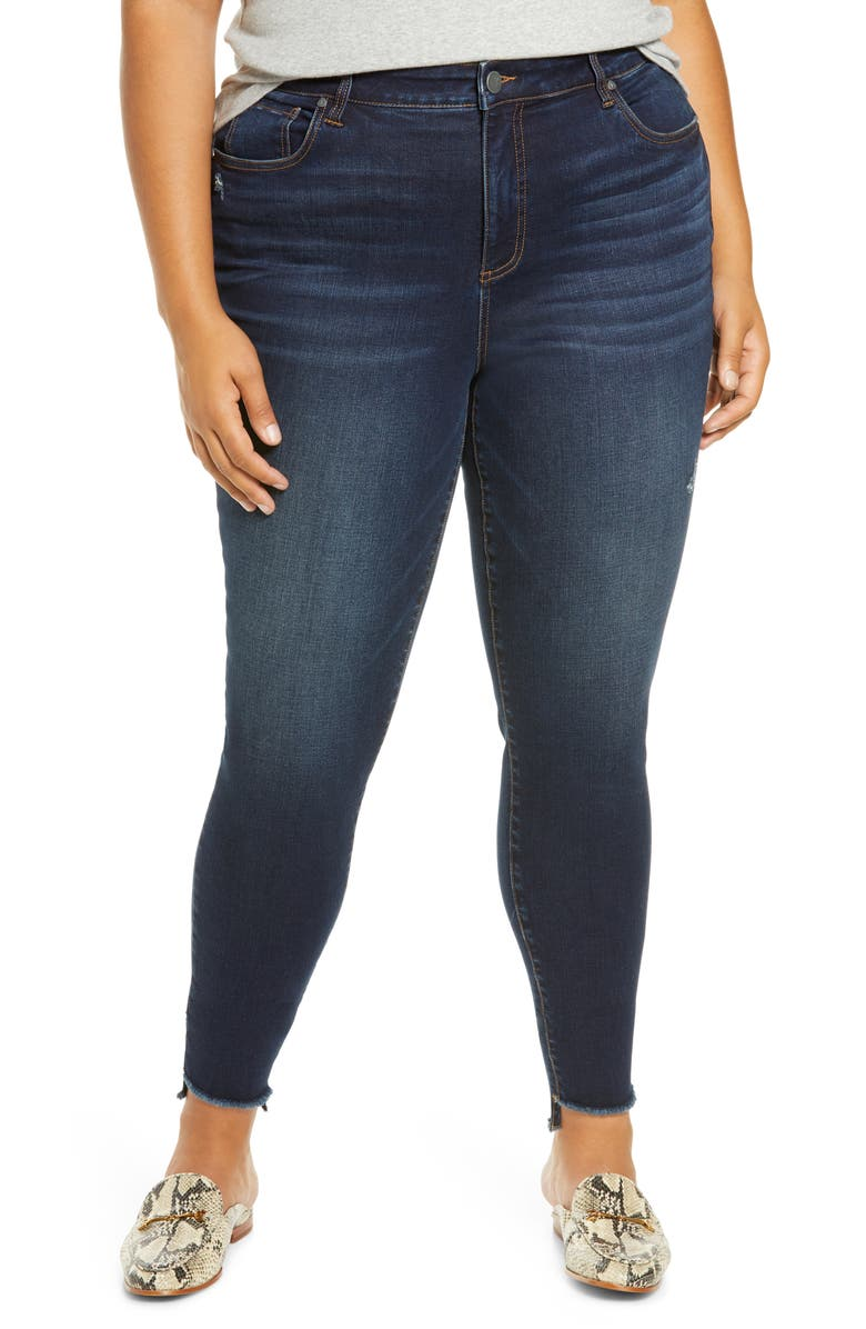 KUT FROM THE KLOTH Connie High Waist Fringe Step Hem Skinny Jeans, Main, color, BUDDING