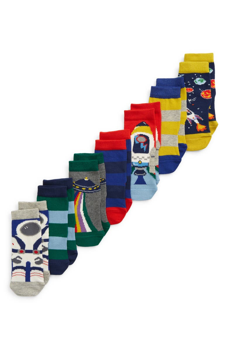 MINI BODEN Kids' Assorted 7-Pack Outer Space Socks, Main, color, 414