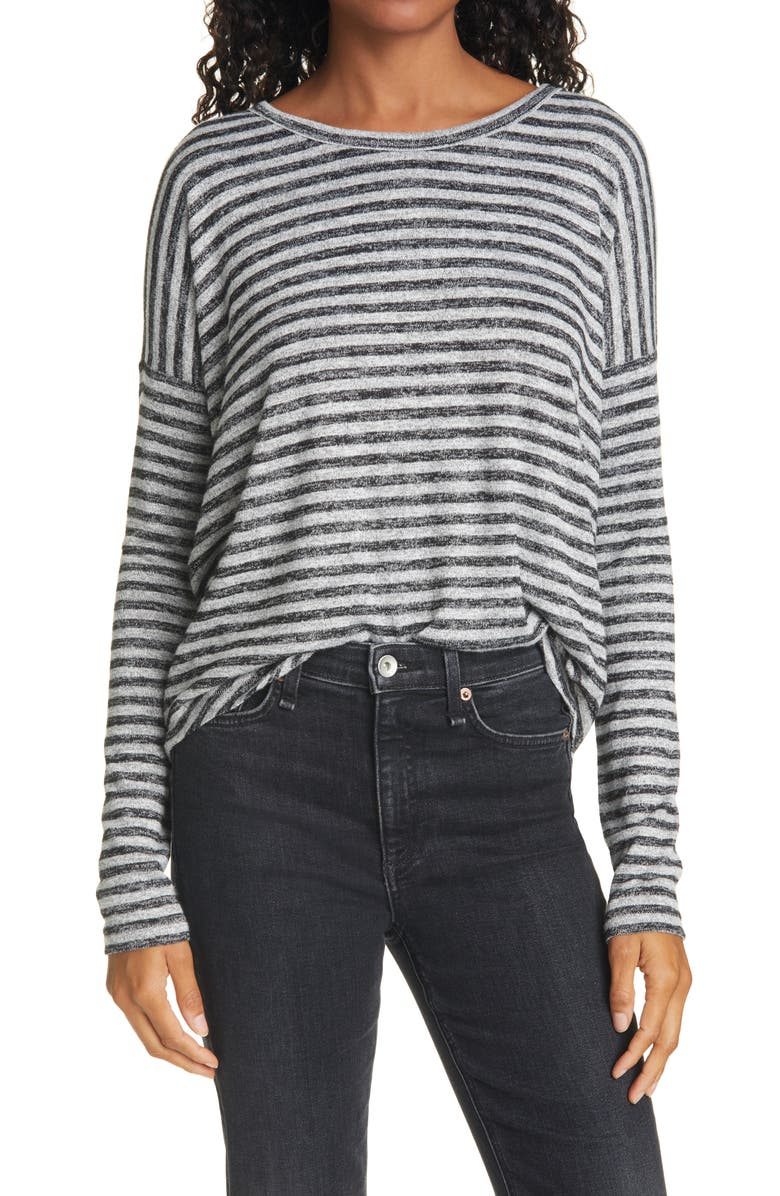 RAG & BONE The Knit Stripe Top, Main, color, HEATHER GREY/ BLACK