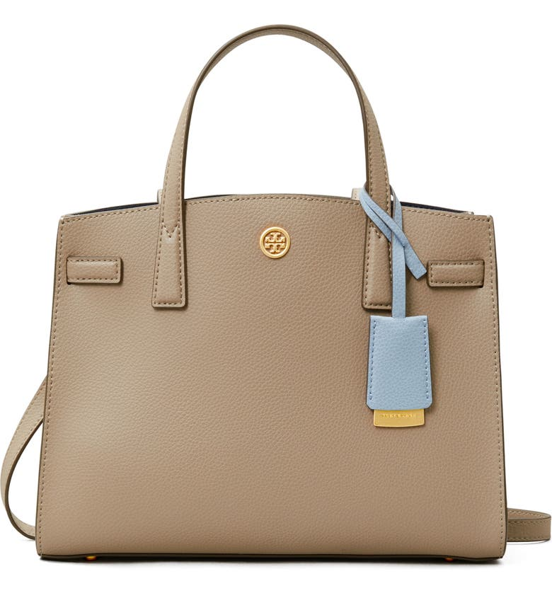 TORY BURCH Small Walker Leather Satchel, Main, color, GRAY HERON