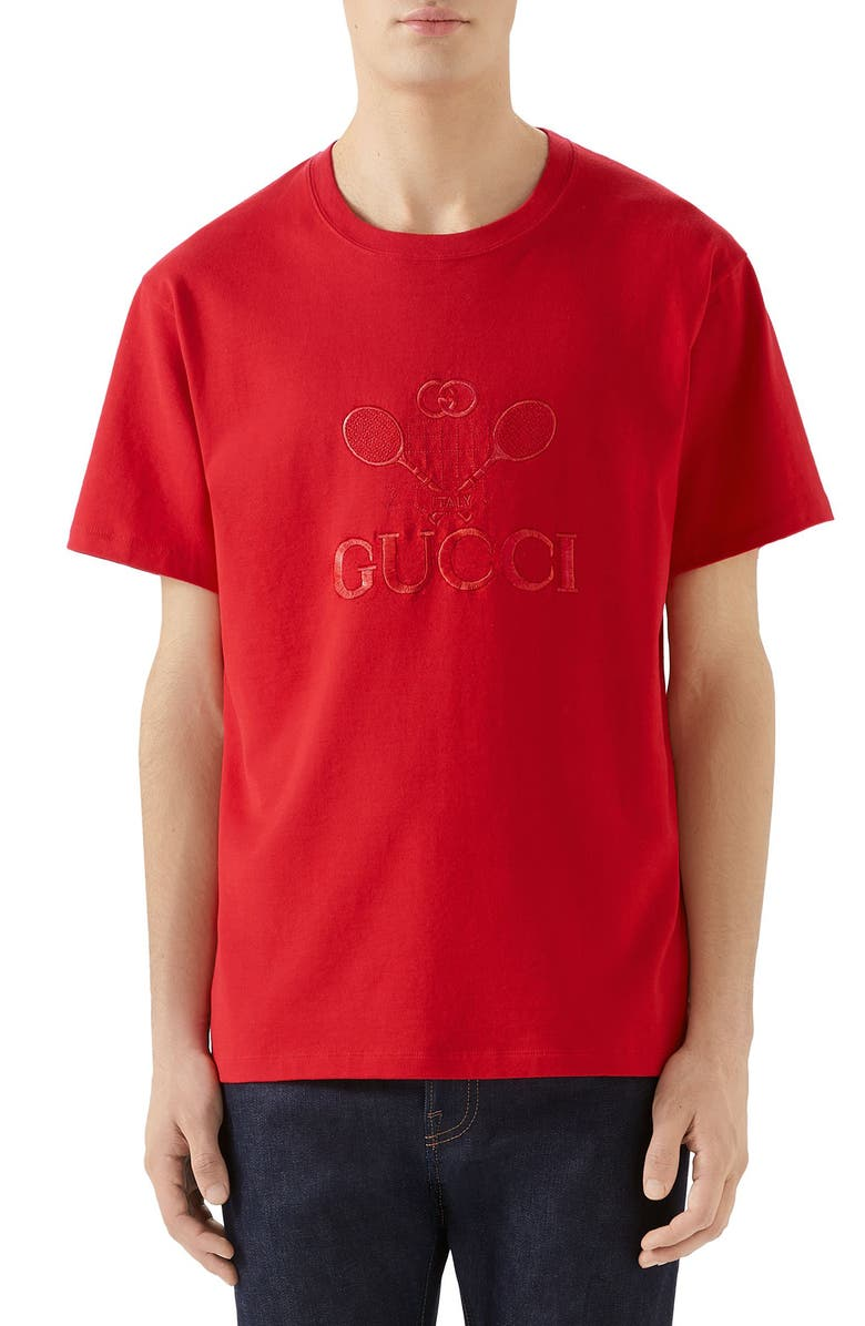 GUCCI Tennis Embroidered Cotton T-Shirt, Main, color, 600
