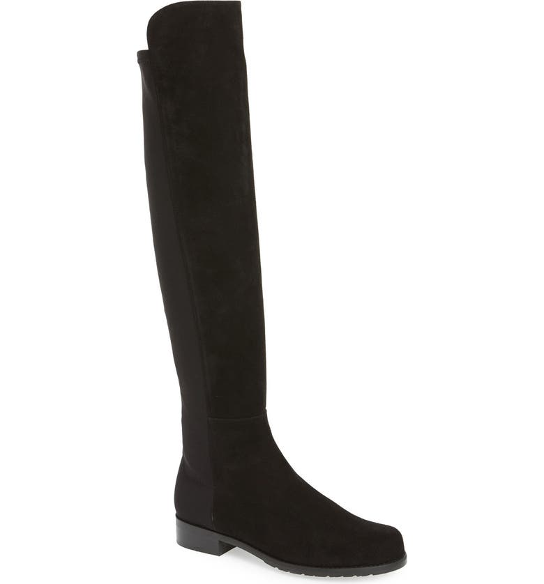 STUART WEITZMAN 5050 Over the Knee Leather Boot, Main, color, BLACK SUEDE