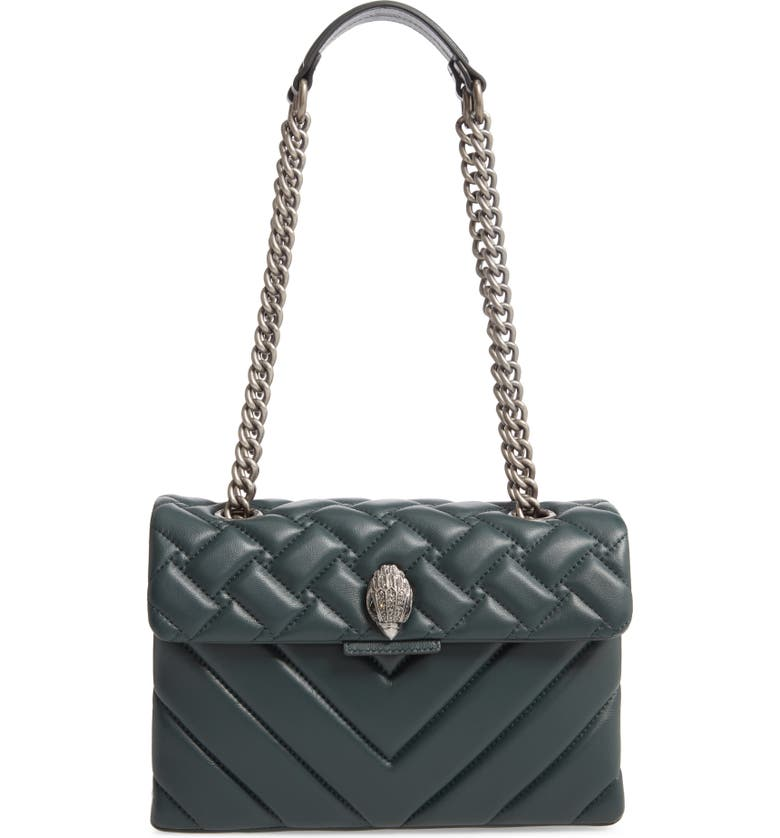 KURT GEIGER LONDON Large Kensington Leather Shoulder Bag, Main, color, TEAL