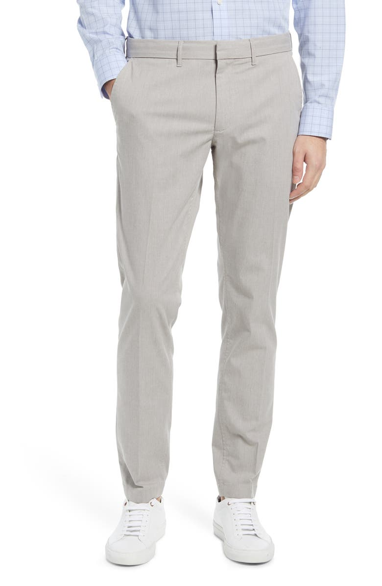 NORDSTROM Slim Fit CoolMax<sup>®</sup> Flat Front Performance Chinos, Main, color, GREY OPAL HEATHER