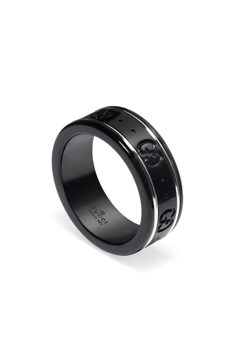 GUCCI Icon Band Ring, Main, color, BLACK/ WHITE GOLD