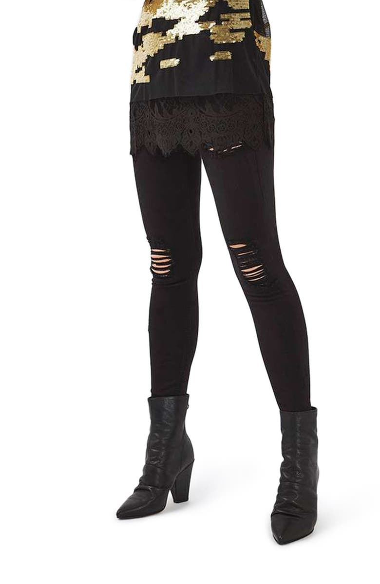 TOPSHOP Ripped High Waist Ankle Skinny Jeans, Main, color, 001