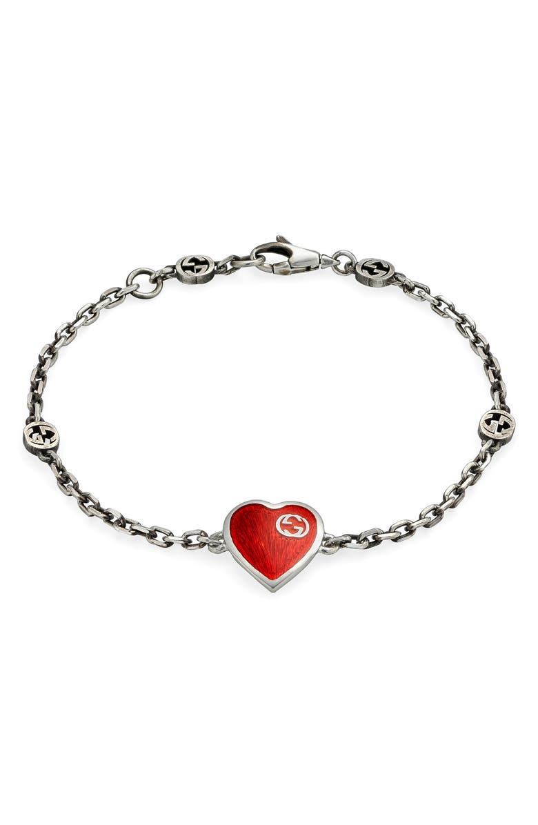 GUCCI Extra Small Interlocking-G Red Heart Bracelet, Main, color, SILVER/ RED