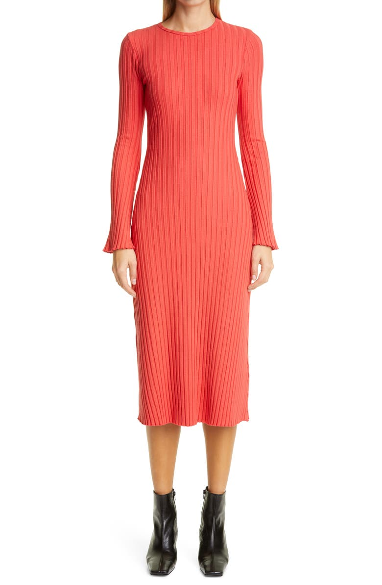 SIMON MILLER RIB by Simon Miller Wells Long Sleeve Midi Dress, Main, color, RETRO RED
