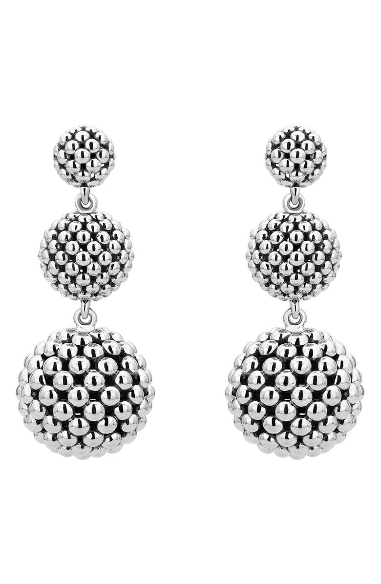 LAGOS Caviar Graduated Triple Drop Earrings, Main, color, Silver