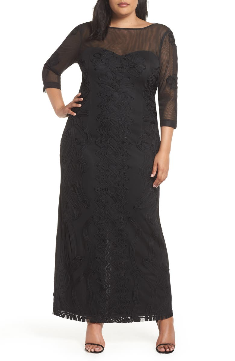 JS COLLECTIONS Soutache Trim Mesh Column Gown, Main, color, 001