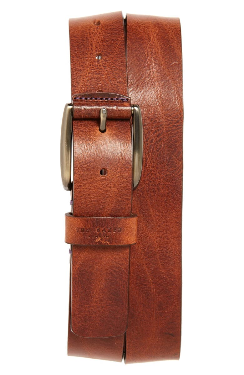 TED BAKER LONDON Jean Leather Belt, Main, color, TAN