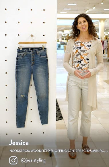 Donna Fab Ab Exposed Button Ripped Ankle Skinny Jeans, sales video thumbnail