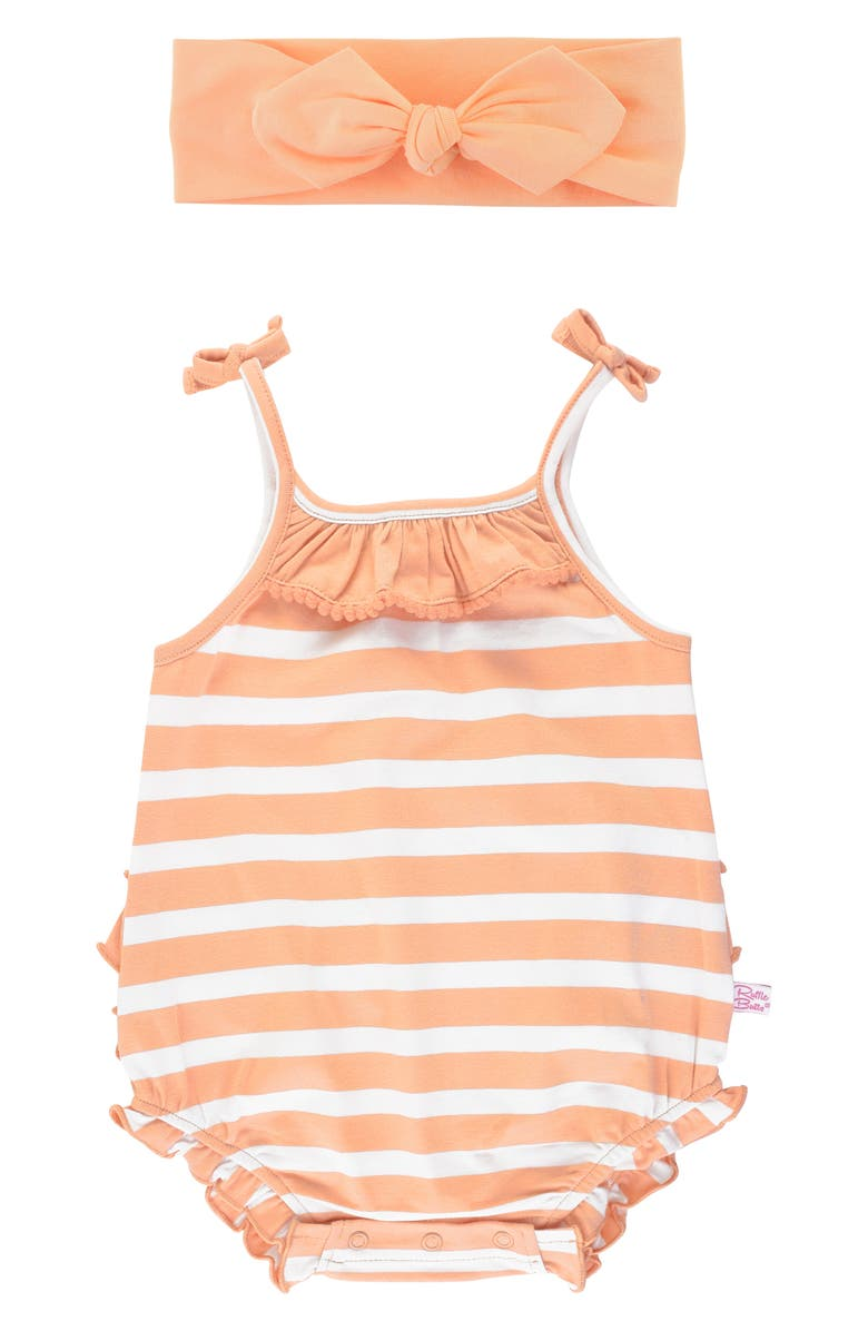 RUFFLEBUTTS Peach Stripe Bubble Romper & Head Wrap Set, Main, color, 950