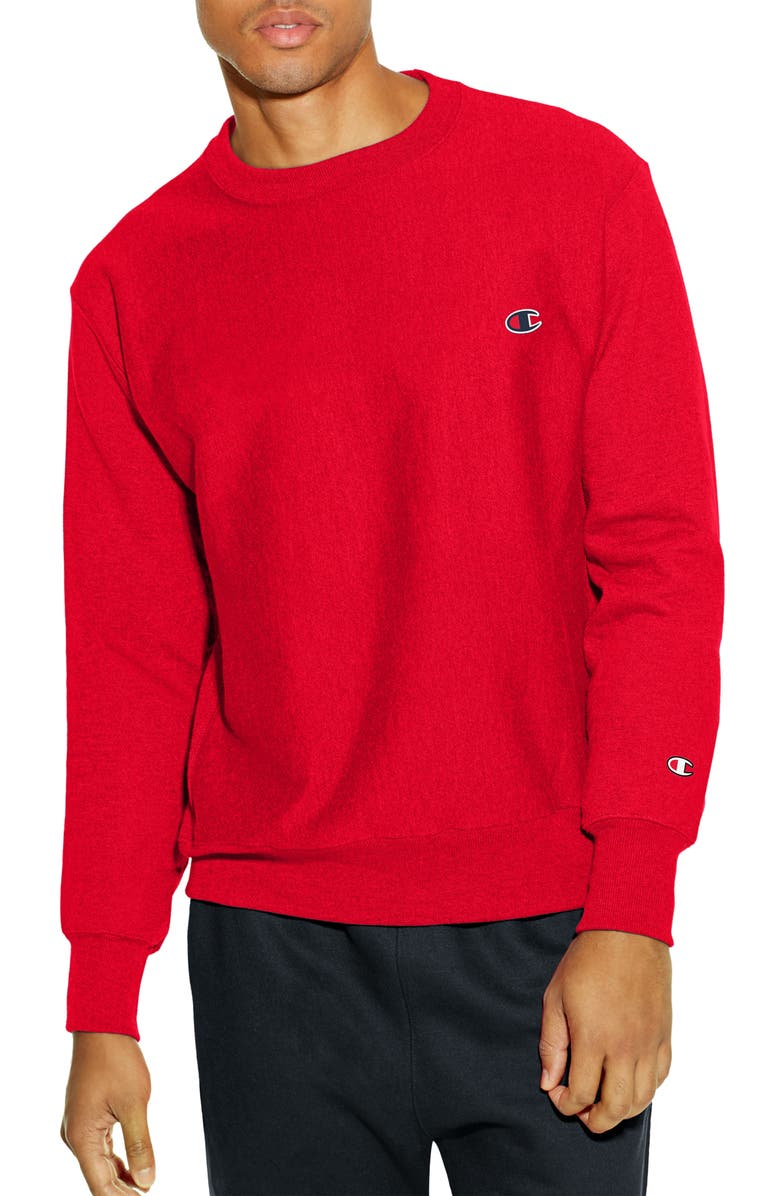 CHAMPION Reverse Weave<sup>®</sup> Crew Sweatshirt, Main, color, TEAM RED SCARLET