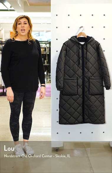 Long Hooded Quilted Coat, sales video thumbnail