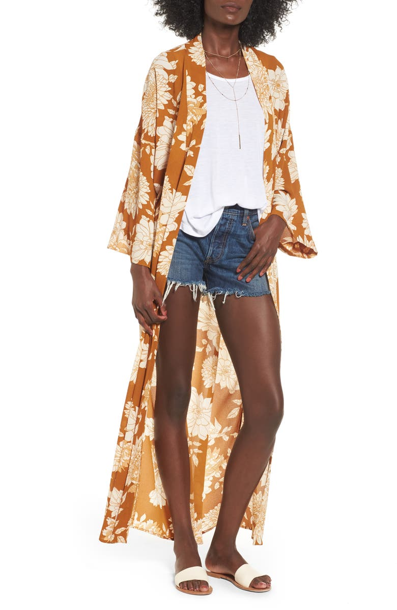 MIMI CHICA Long Jacket, Main, color, MUSTARD FLORAL