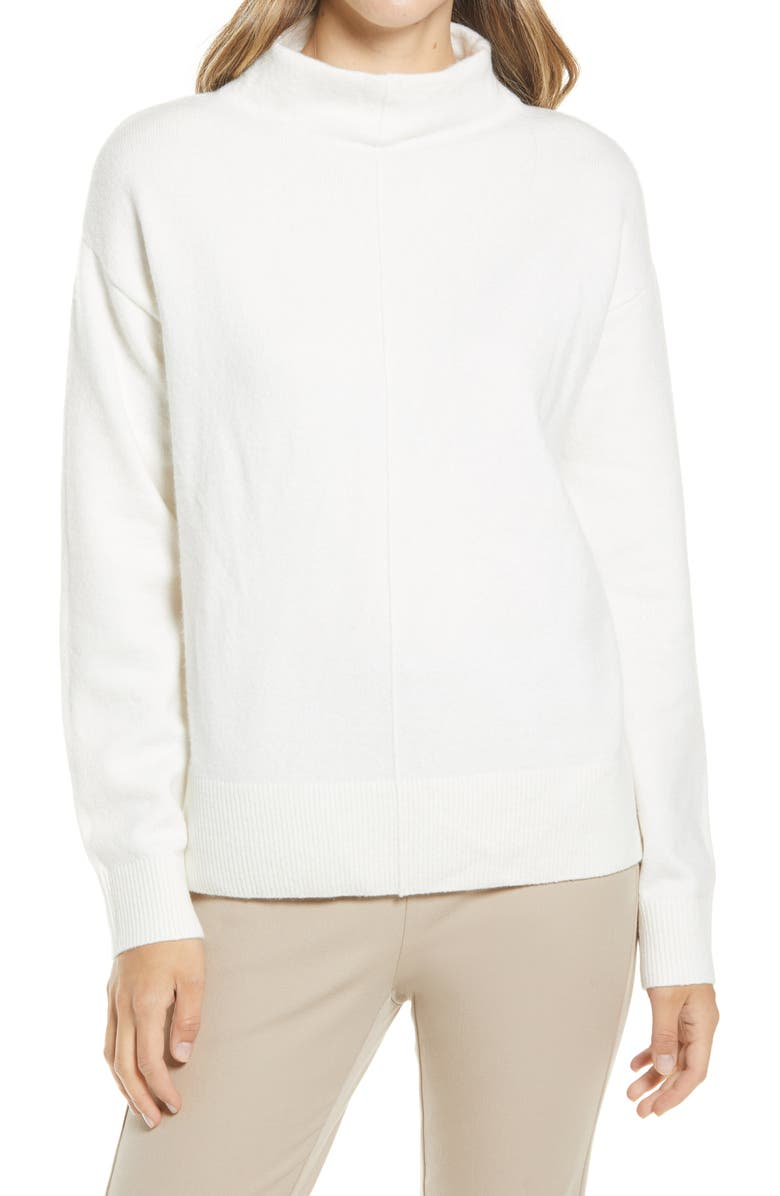 NORDSTROM Seam Detail Funnel Neck Sweater, Main, color, IVORY CLOUD