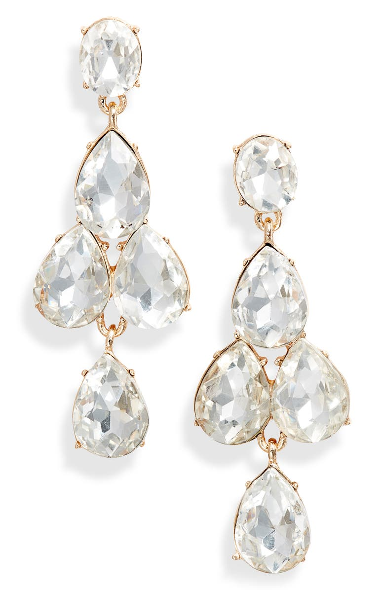 RACHEL PARCELL Vintage Crystal Kite Earrings, Main, color, CLEAR- GOLD