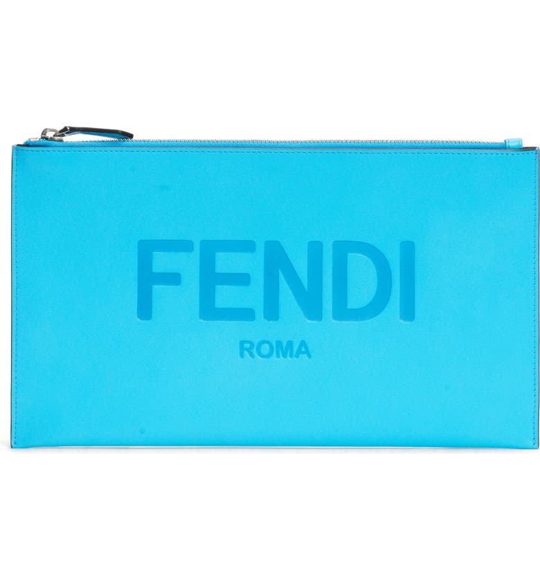 FENDI Logo Zip Leather Pouch, Main, color, POOL