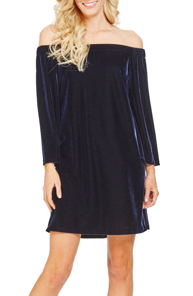 DONNA MORGAN Stretch Velvet Shift Dress, Main, color, 402