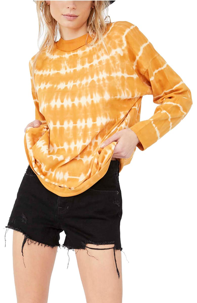 FREE PEOPLE Be Free Tie Dye Oversize Long Sleeve T-Shirt, Main, color, NEUTRAL COMBO