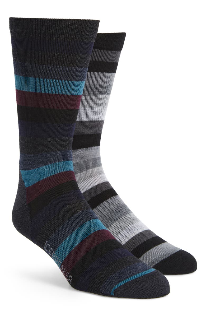ICEBREAKER Lifestyle Stripe 2-Pack Merino Wool Blend Ultralight Crew Socks, Main, color, 001