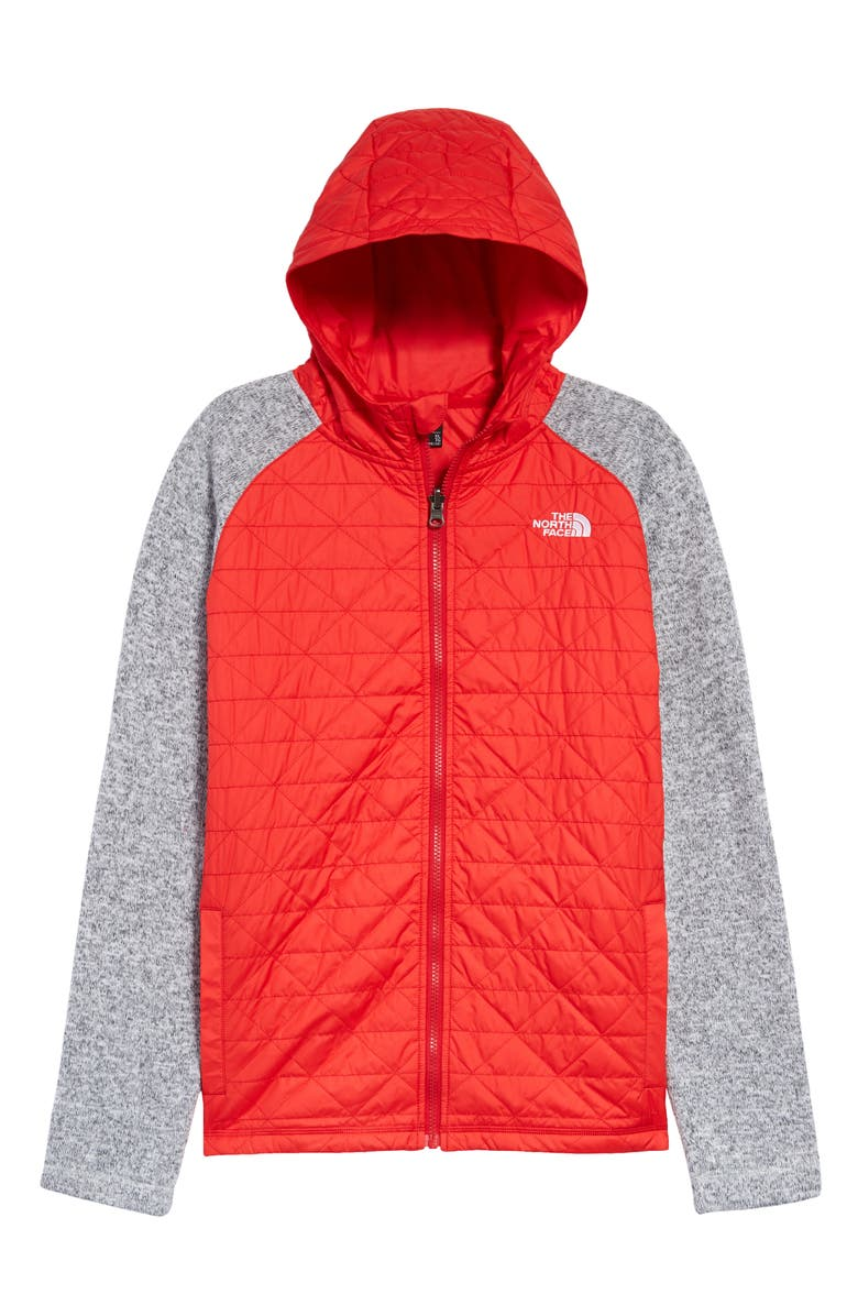 THE NORTH FACE Kids' Quilted Sweater Fleece Hoodie, Main, color, RAGE RED