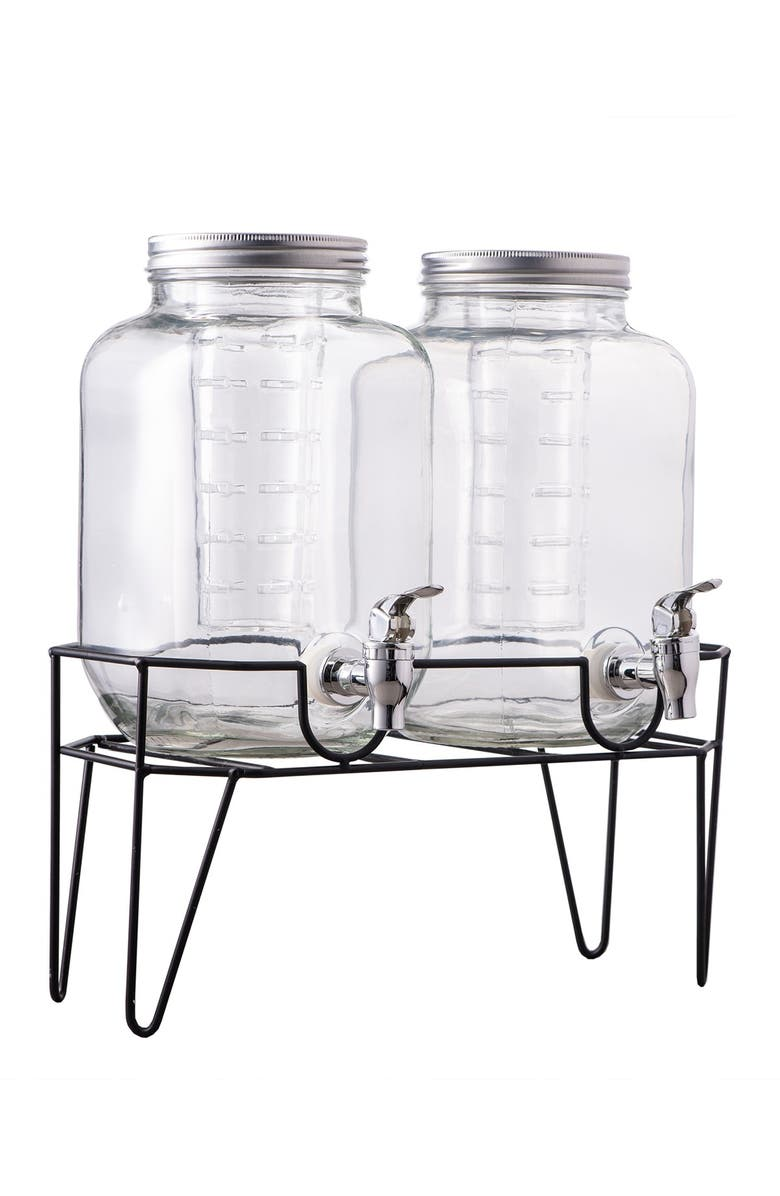 AMERICAN ATELIER Clifford Set of 2 Infuser Beverage Dispensers with Stand, Main, color, 000