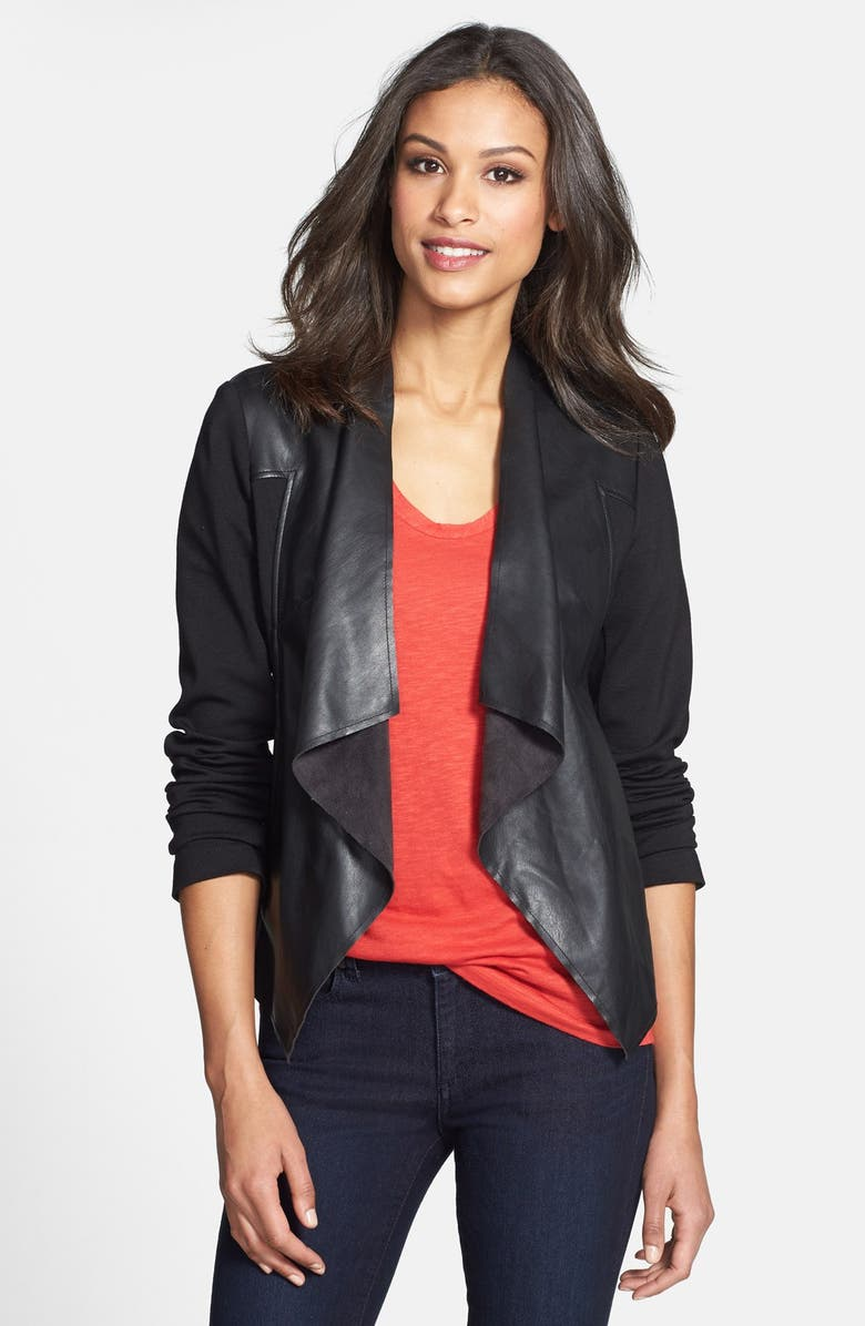 KUT FROM THE KLOTH 'Lincoln' Faux Leather Drape Front Jacket, Main, color, 002
